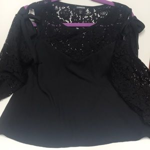 Black with lace cold shoulder top by express